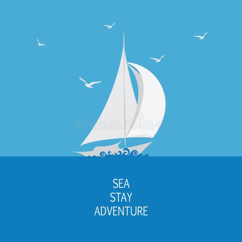 Hav, segelbåt och seagulls royaltyfri illustrationer