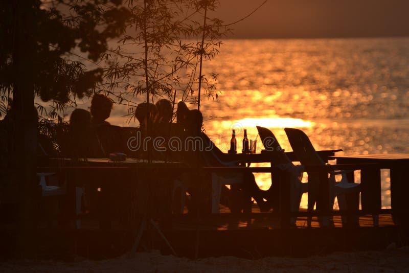 Hav Solnedgång thailand Ko Chang arkivbild