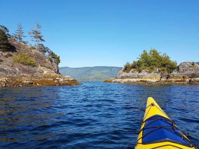 Hav som kayaking på det blåa vattnet av det Clayoquot ljudet, Tofino på en solig dag arkivbilder
