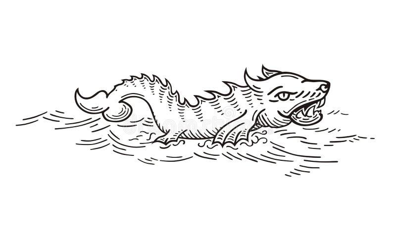 Hav Wolf Monster vektor illustrationer