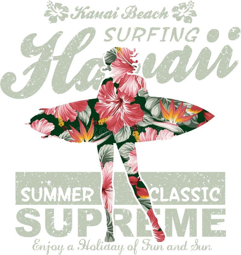 Havaí floral que surfa ilustração do vetor
