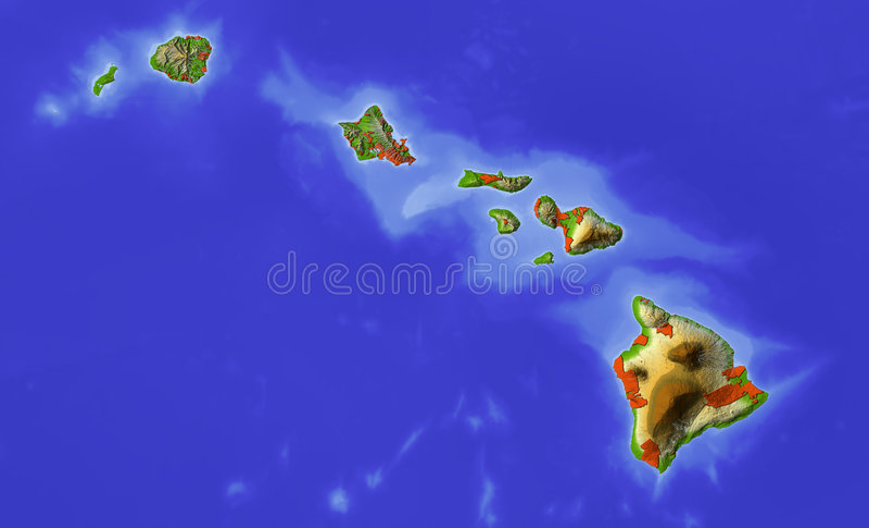 Havaí, mapa de relevo protegido ilustração stock