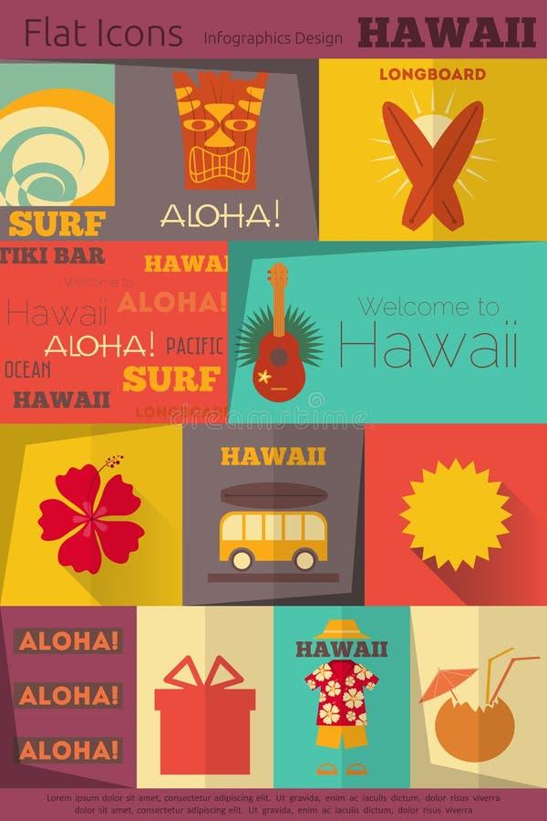 Havaí retro etiqueta a coleção ilustração royalty free