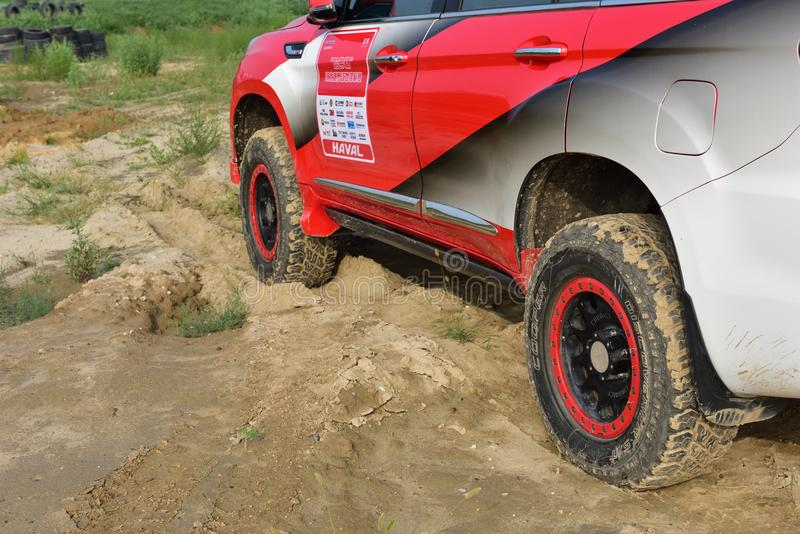 A HAVAL H5 off-road vehicle in the sand stock photos