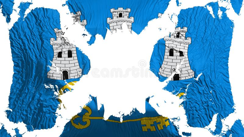 Havana torn flag fluttering in the wind stock illustration