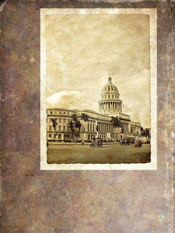 Havana Capitoly - Weinlesepostkarte lizenzfreie stockbilder