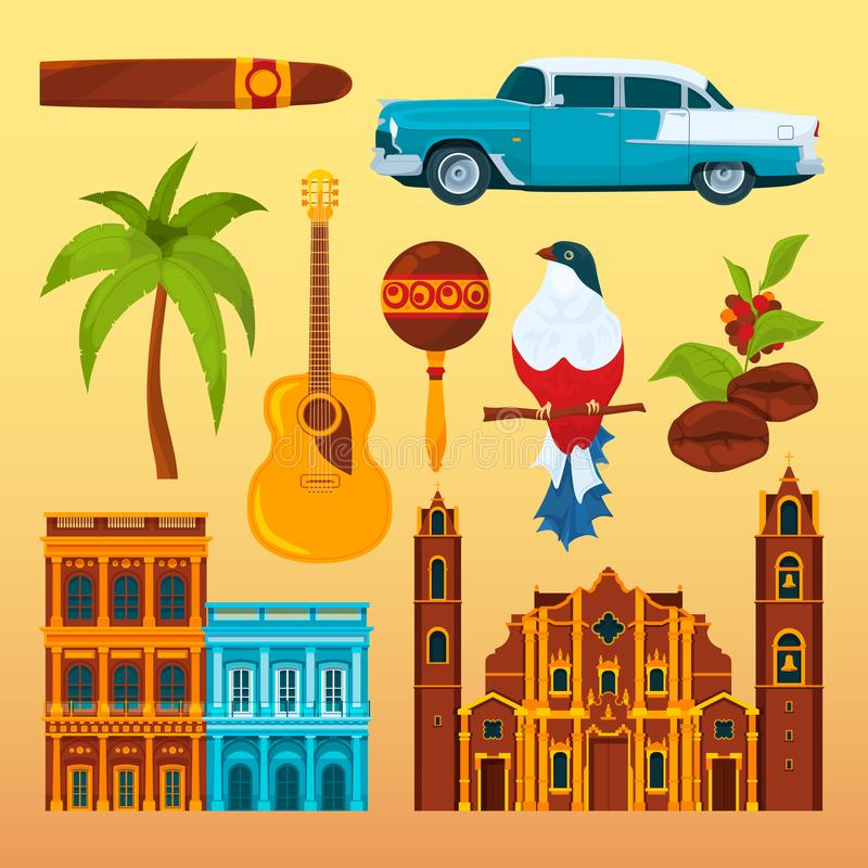 Havana cigar and others differents cultural objects and symbols of Cuba. Vector cuban national landmark, cigar and coffee, bird and palm tree illustration royalty free illustration