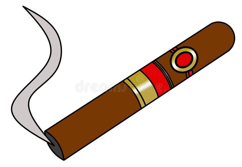 Havana Cigar Smoking. Cigar with smoke with gold luxury label stock illustration