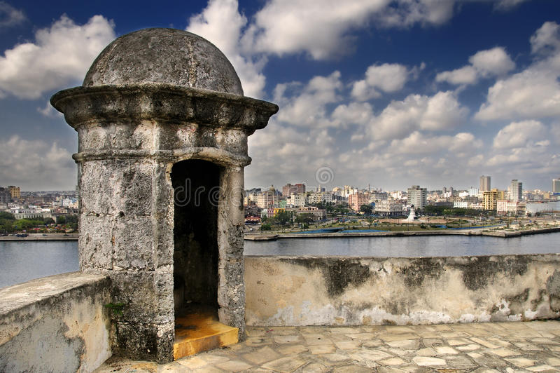Havana city skyline from Fortress wall. A view of Havana city skyline under blue sky from colonial fortress wall royalty free stock photo