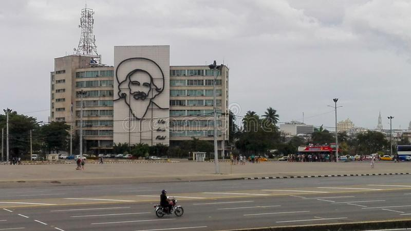 Havana, Cuba - April 13, 2017: Revolution square in the center of Havana with featuring an iron mural of Camilo Cienfuegos` face royalty free stock images