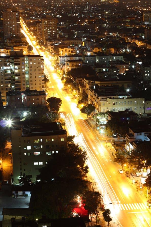Havana, Cuba, bij nacht. stock fotografie