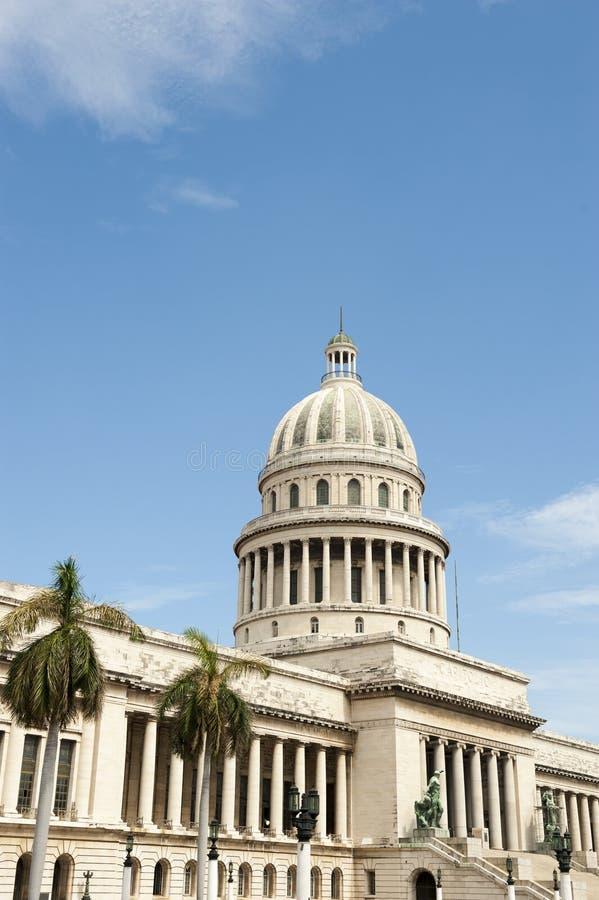 Havana Cuba Capitolio Building med palmträd arkivbilder