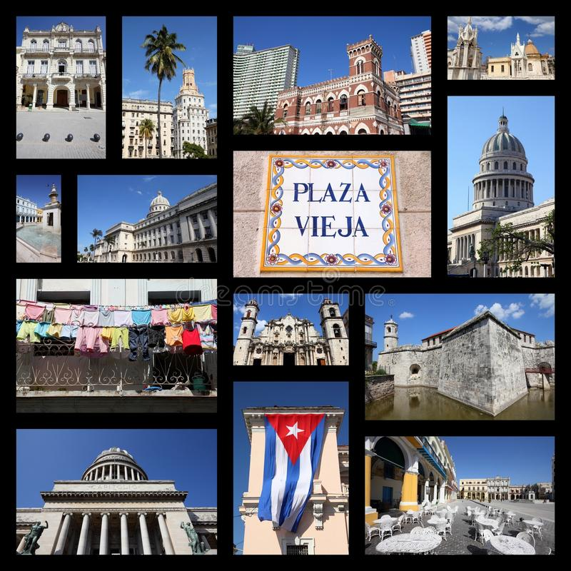 Havana Cuba-collage stock afbeelding