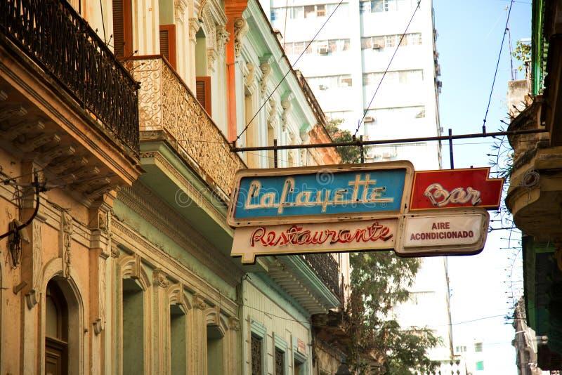 Neon sign in the street at la Havana in Cuba royalty free stock photos
