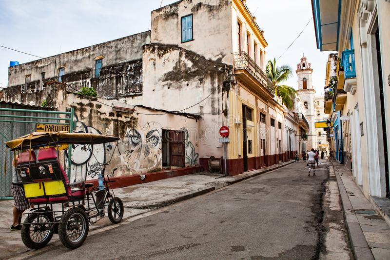 Havana, Cuba - December 12, 2016: Street to the Plaza de la Cathedral in Old Havana (Cuba) with the baroque architecture of San C stock images