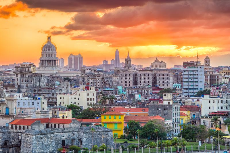 Havana, Cuba downtown skyline. Havana, Cuba downtown skyline at sunset stock image