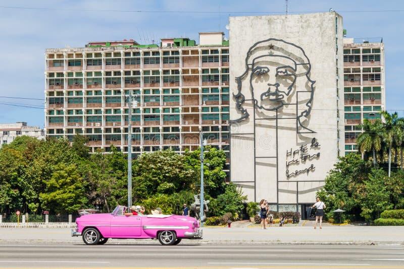 HAVANA, CUBA - FEB 21, 2016: Portrait of Che Guevara on the Ministry of the Interior on Plaza de la Revolucion.  stock photos