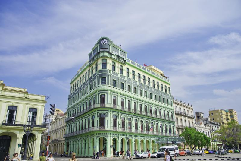 HAVANA, CUBA - FEB 16, 2016: View of the restored luxury Saratoga Hotel built in 1879, an excellent example of colonial architect royalty free stock photos