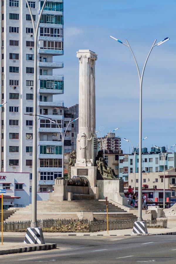 HAVANA, CUBA - 21 FEBRUARI, 2016: Monument aan de Slachtoffers van USS Maine in Havan royalty-vrije stock foto's