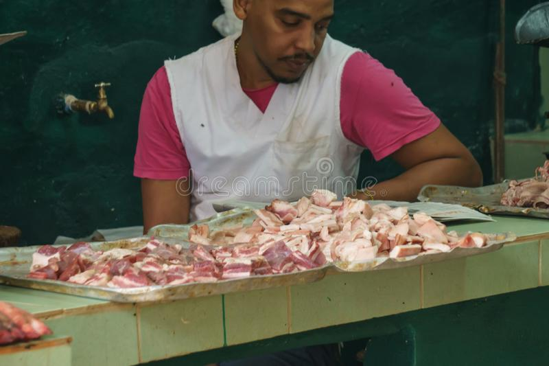 Havana, Cuba - 9 January, 2007: cuban typical roasted pork royalty free stock images
