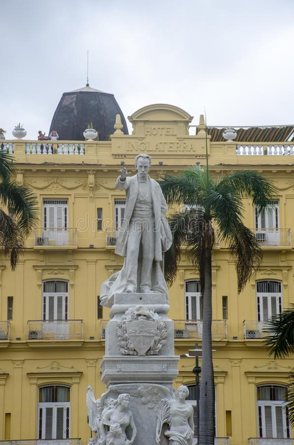 Statue of Jose Marti in Parque Central Havana with Hotel Inglaterra in background stock image