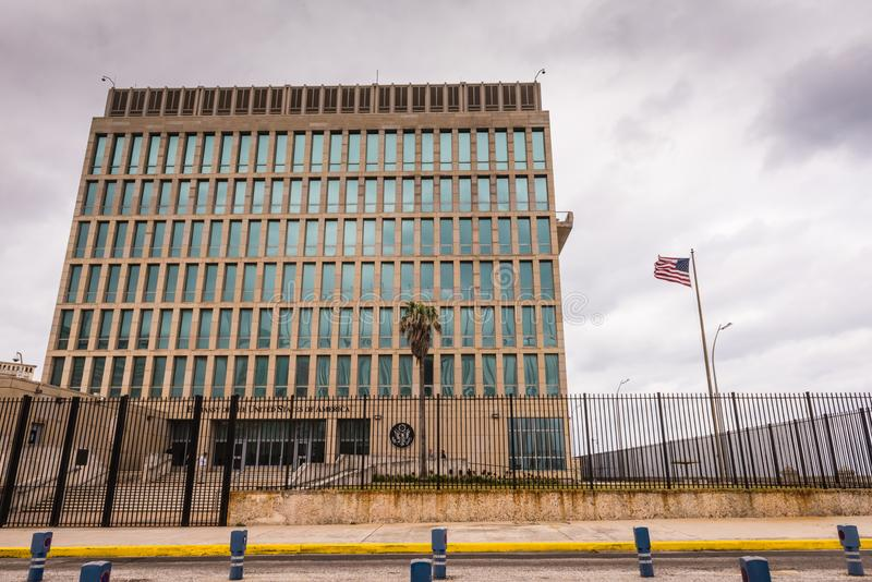 American Embassy in Cuba. Havana, Cuba / March 21, 2016: The Embassy of the United States of America in Havana is the United States of Americas diplomatic royalty free stock photo