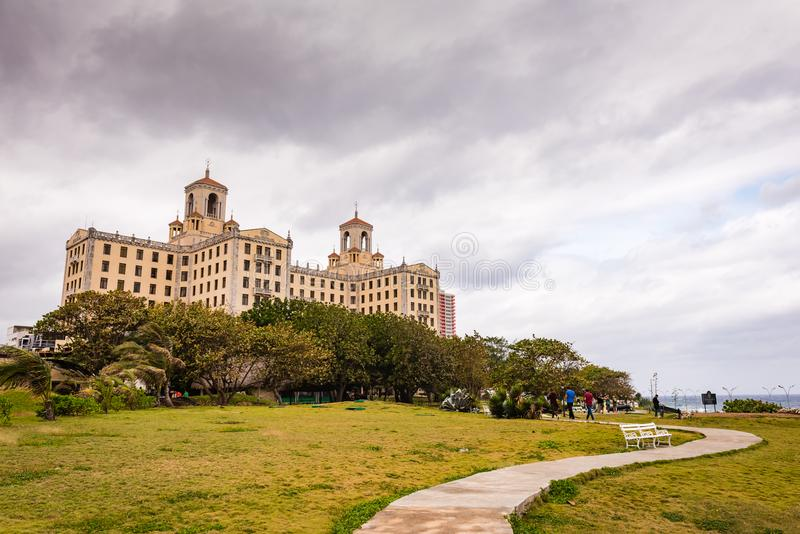 Hotel Nacional de Cuba / National Hotel of Cuba. Havana, Cuba / March 21, 2016: Historic hotel with art deco details dating from 1930, famous for its ganster stock image