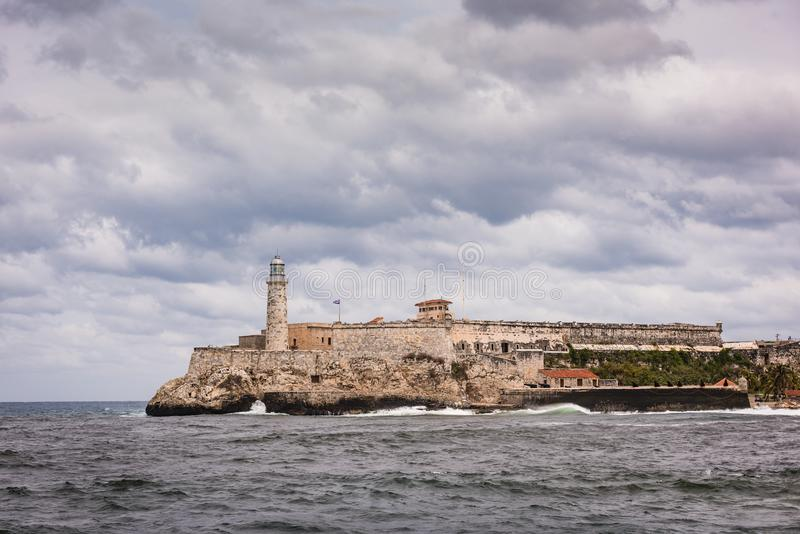 Morro Castle Fortress On Havana Bay. Havana, Cuba / March 22, 2016: Morro Castle Castillo de los Tres Reyes Magos del Morro named after the three biblical Magi royalty free stock images