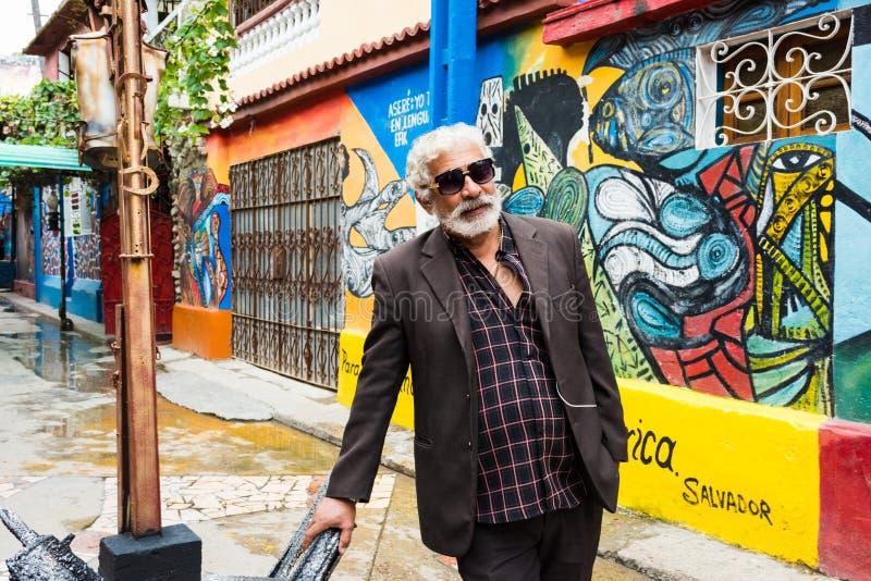 Hamel Artist - Salvador Gonzales Escalona. Havana, Cuba / March 20, 2016: Salvador Gonzales Escalona, sculptor and artist behind Hamel Alley and the preservation stock image