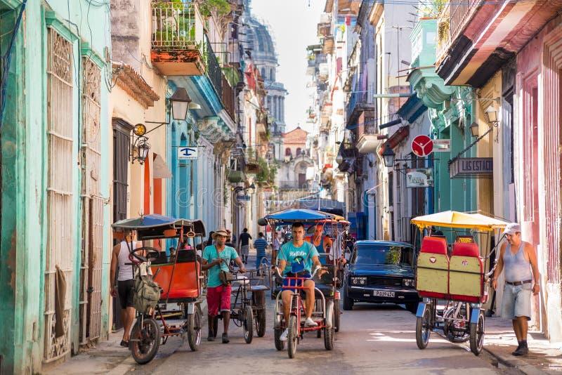 Havana, Cuba - November 29, 2017: El Capitolio seen from a narrow street stock image
