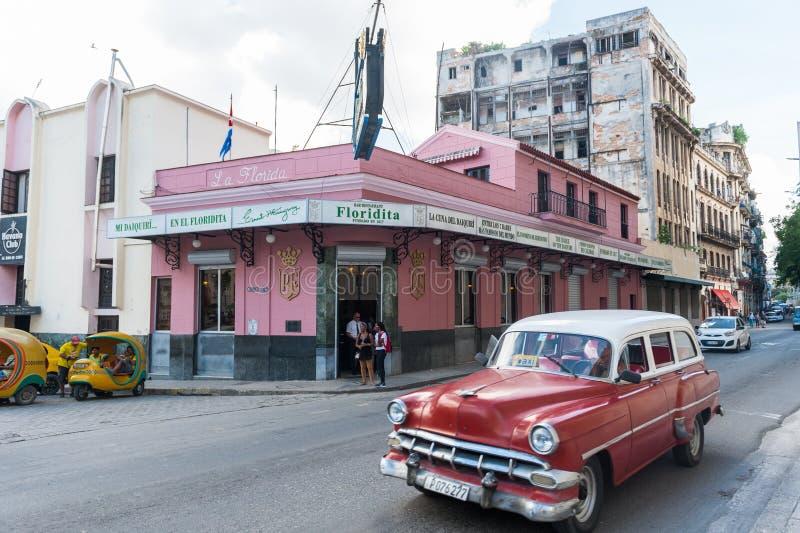 HAVANA, CUBA - OCTOBER 23, 2017: Havana Old Street with Famous Floridita Restaurant. Sightseeing Object. Havana Old Street with Famous Floridita Restaurant stock image