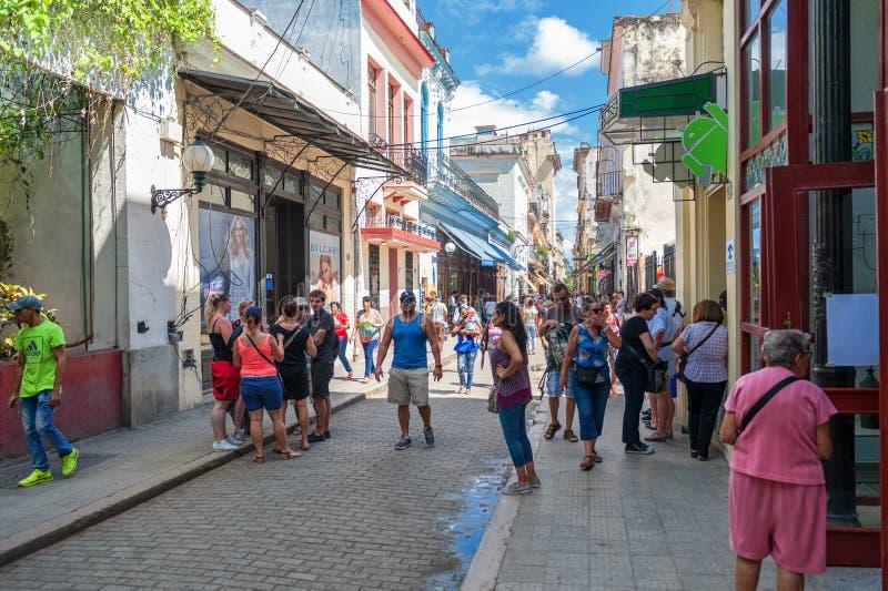 HAVANA, CUBA - OCTOBER 20, 2017: Havana Old Town Street with Local People and Tourist. Havana Old Town Street with Local People and Tourist stock photo