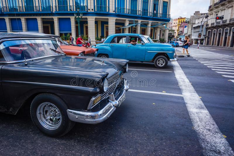 HAVANA, CUBA - OCTOBER 28-Old American restored cars fill the streets of Havana, Cuba on Oct 28, 2015_ stock photos