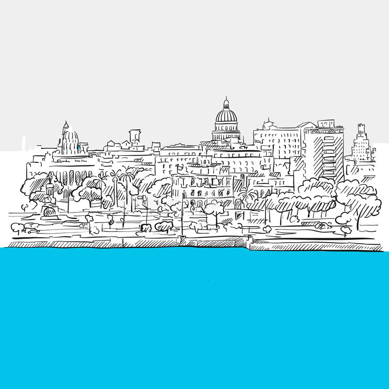 Havana, Cuba, panorama, Blue Series stock illustration