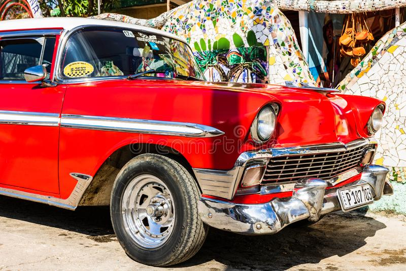 Red classic American car on the streets of Havana, tourist attraction. Havana, Cuba - 2019. Red classic American car on the streets of Havana, tourist attraction stock photo