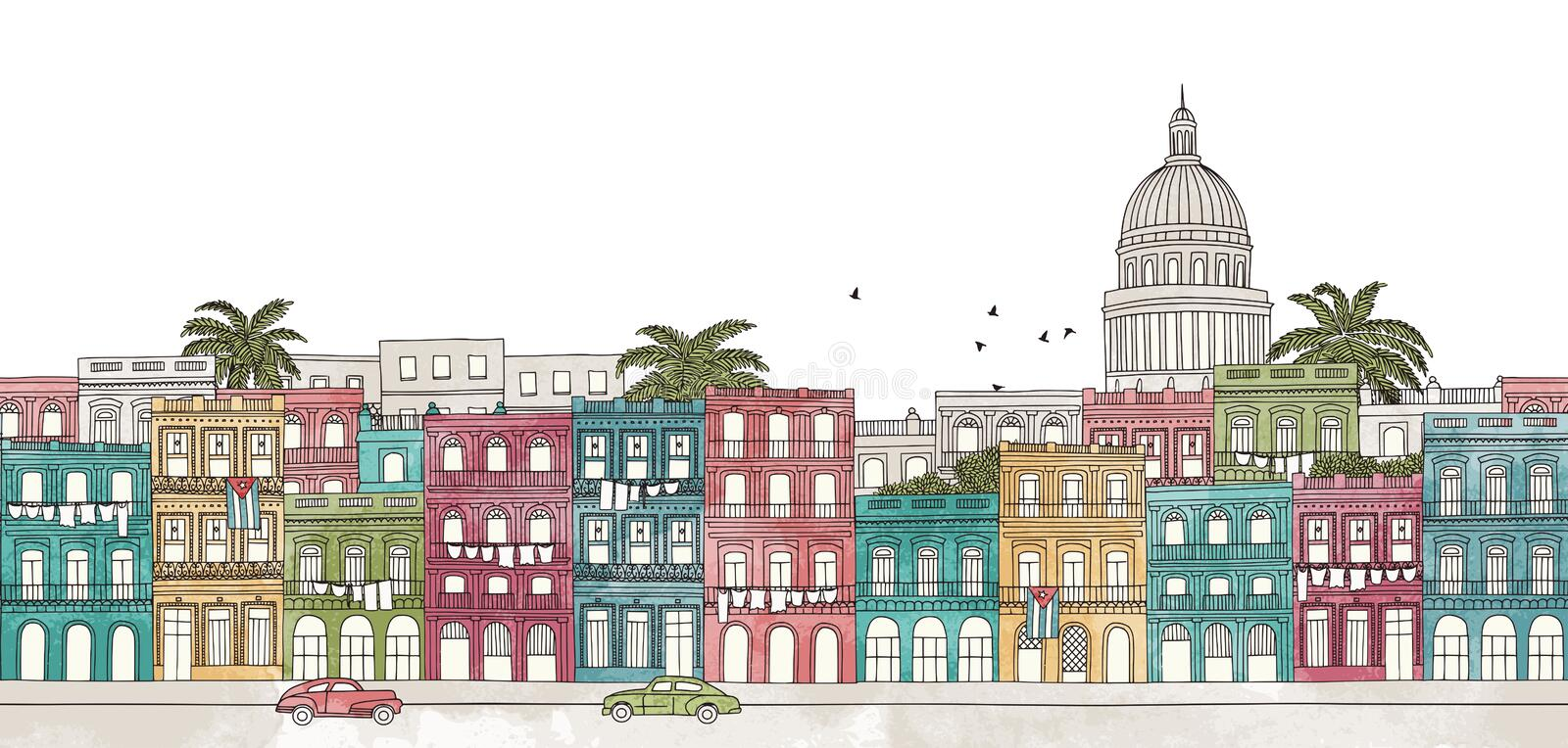 Havana, Cuba - seamless banner stock illustration