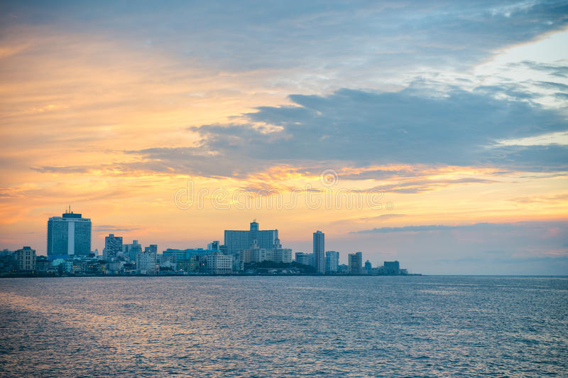 Havana Cuba Sunset Skyline royalty free stock image