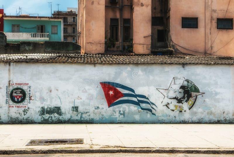 Havana Cuba Young Communist League-Graffiti stock afbeelding