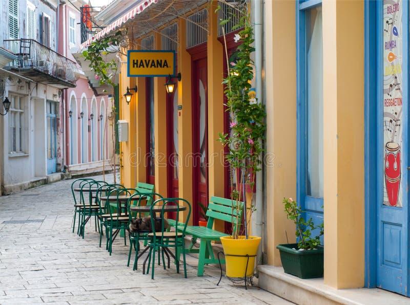 Havana Cuban Cafe Bar Barra da rua na cidade de Lefkada imagem de stock royalty free