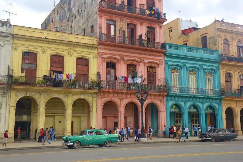 Havana e carros, Cuba imagens de stock
