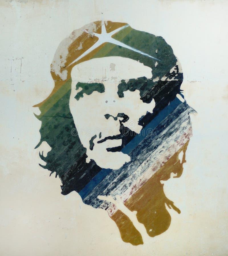 havana för checuba guevara gammal målning arkivfoto