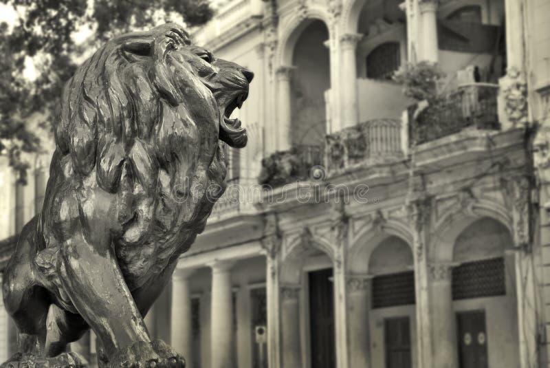Havana-Gebäude und Löwe stockfotografie