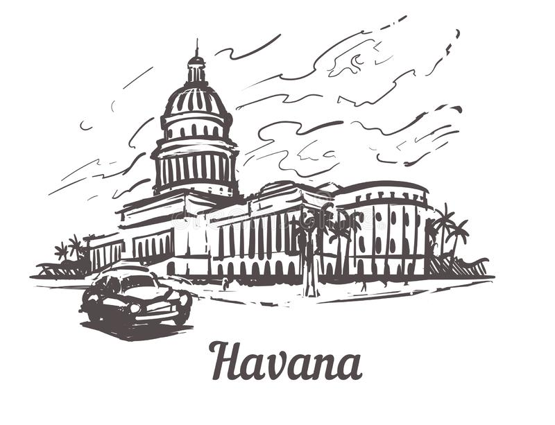 Havana-Handgezogene Skizzen-Vektorillustration Kapitol von Havana, lokalisiert auf weißem Hintergrund vektor abbildung