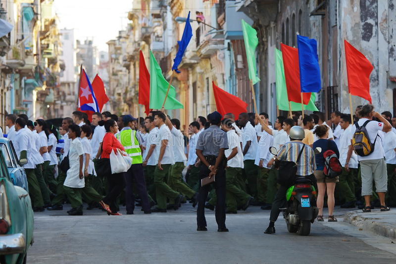 Havana March Workers Editorial Stock Photo