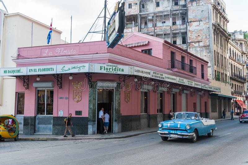 HAVANA, CUBA - OCTOBER 23, 2017: Havana Old Street with Famous Floridita Restaurant. Sightseeing Object. Havana Old Street with Famous Floridita Restaurant royalty free stock photos