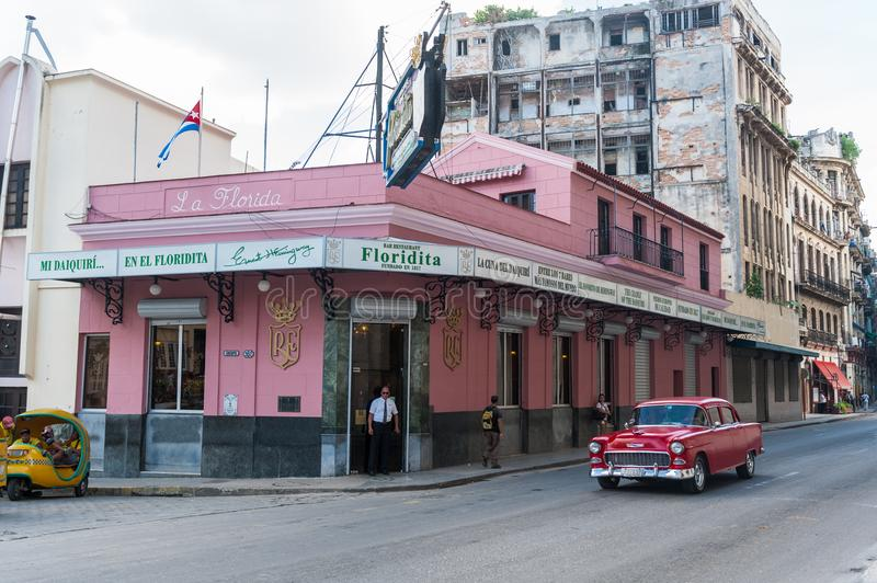 HAVANA, CUBA - OCTOBER 23, 2017: Havana Old Street with Famous Floridita Restaurant. Sightseeing Object. Havana Old Street with Famous Floridita Restaurant royalty free stock images