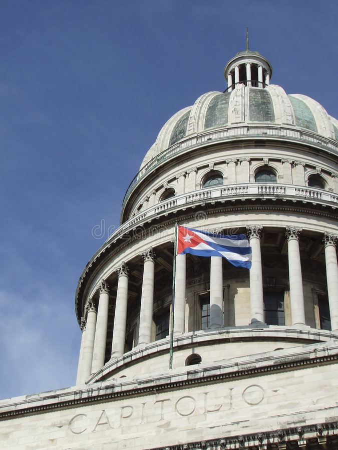 Free Havana S Capitol Dome, And Cuban Flag Royalty Free Stock Photo - 5684425