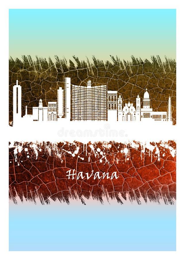 Havana-Skyline blau und weiß stock abbildung
