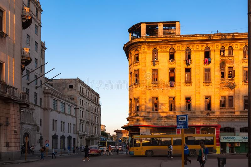 Havana street in district Serrra. Color-rich house and unknown residents. Sunset royalty free stock image