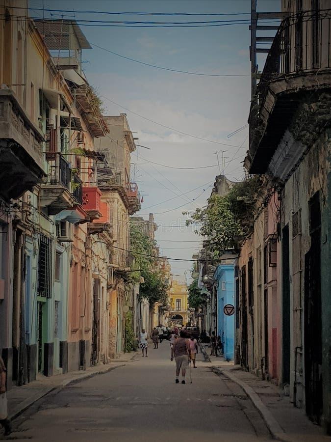 Havana Street livKuba arkivfoto
